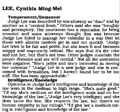California Judge Reviews Judge entry on Cynthia Ming Mei Lee supplied by law ibrary in 2016