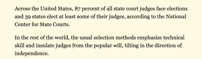 Excerpt NY Times -- 25 may 2008 ROW judges independent SC cotin.org