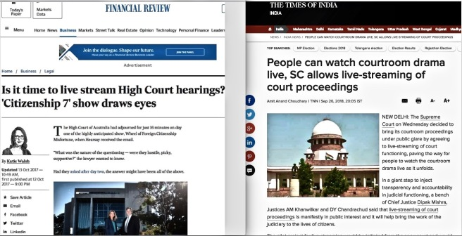 +000 Headlines live streaming court proceedings Times of India and Australian Financial Review COTIN.org